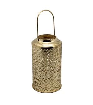 Porta Vela farol metálico Dorado